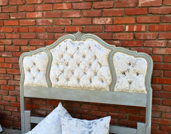 Queen Headboard Tufted French Vintage Wood Trim Upholstered
