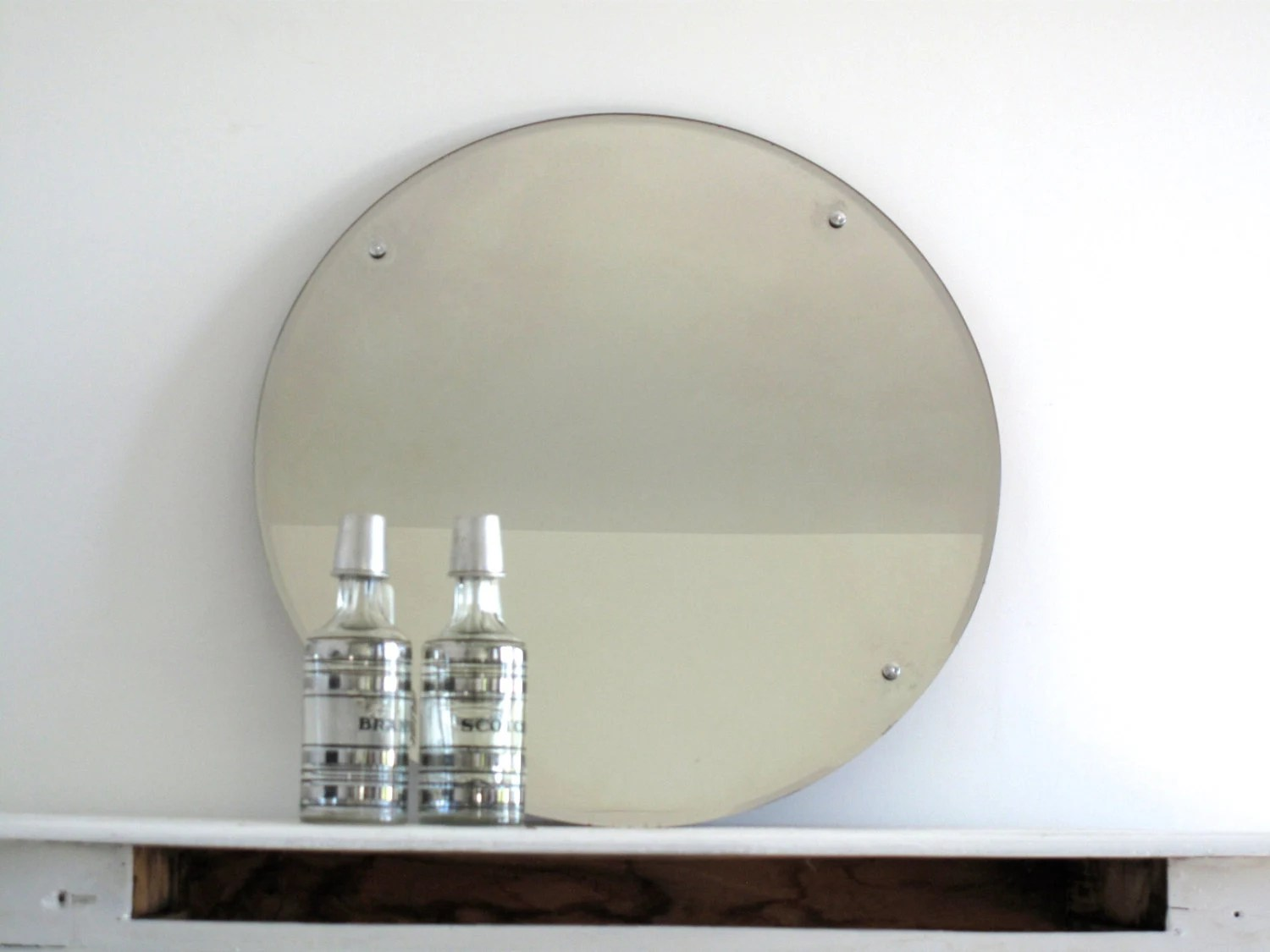 Vintage Large Round Wall Mirror With Metal By SnapshotVintage