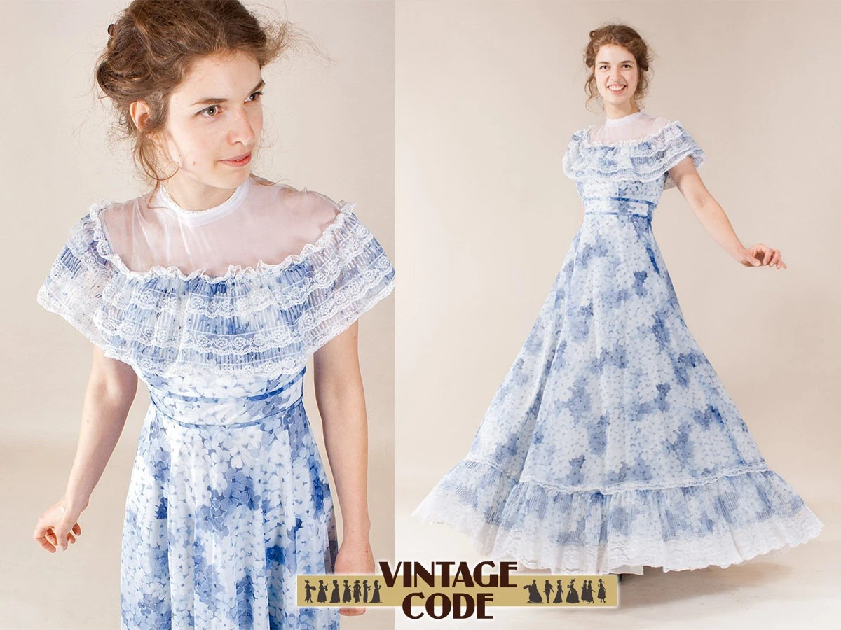 Vintage Southern Belle Dress / Illusion Neckline By