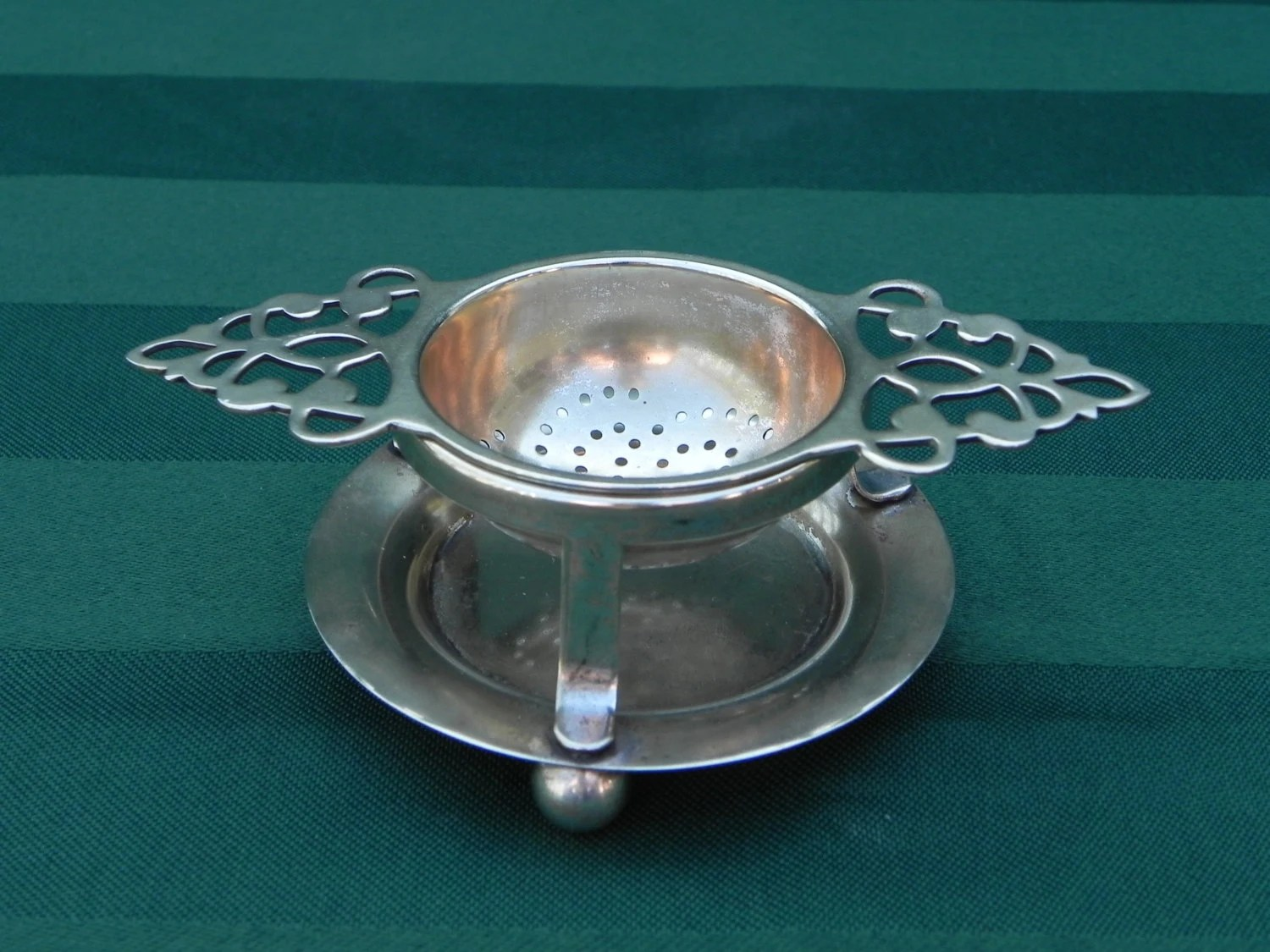 Vintage Tea Strainer And Stand Complete Set Made In
