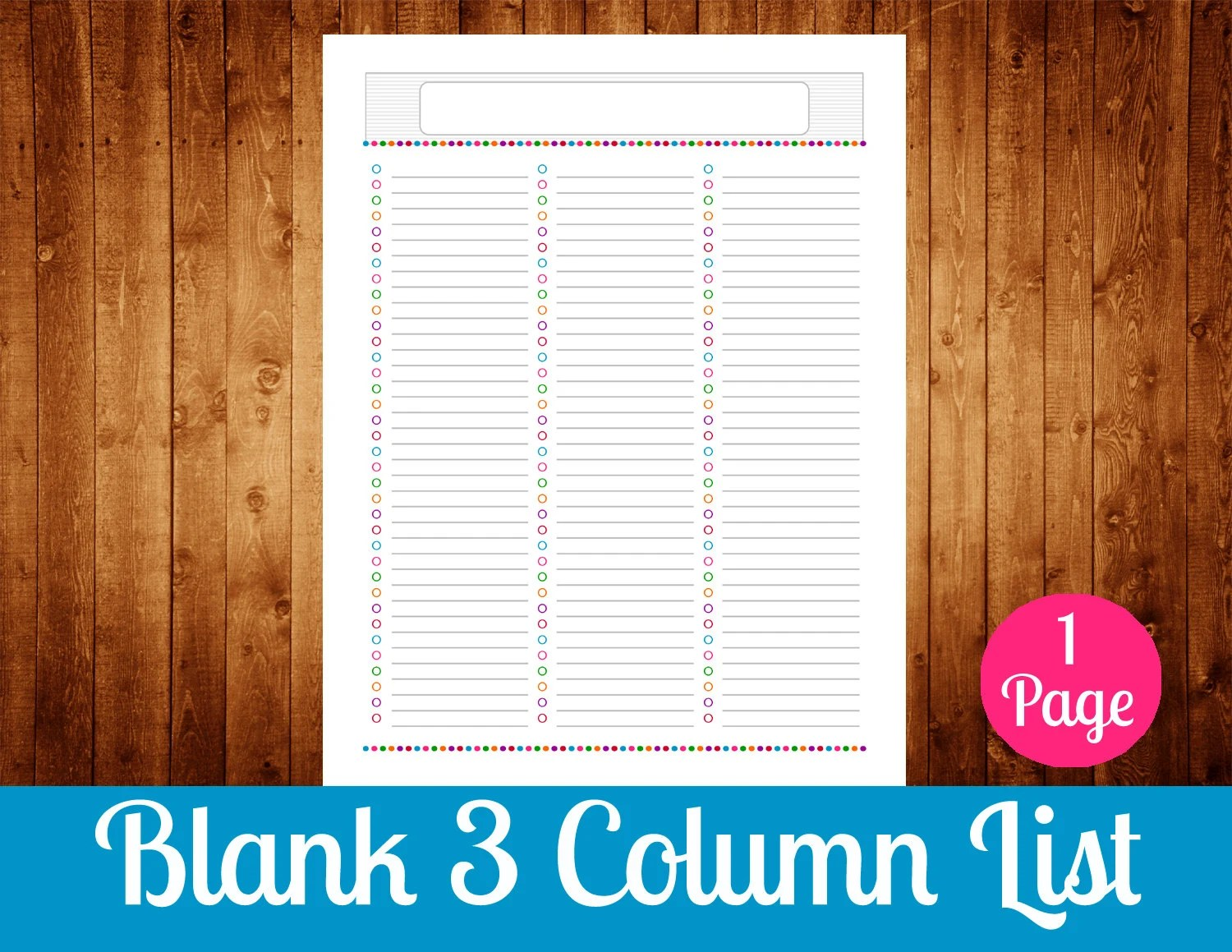 Blank 3 Column List Instant Download By