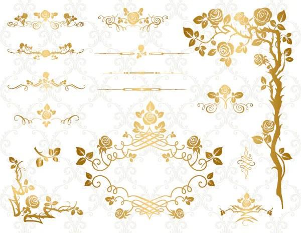 Rose Gold Swirls Clip Art