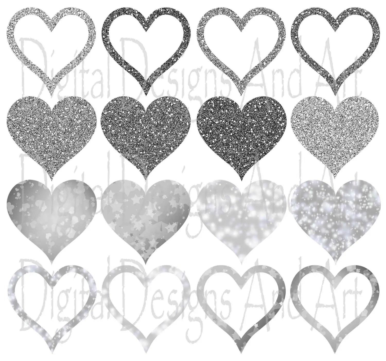 Silver Glitter Hearts Clipart Silver Wedding Clipart Glitter