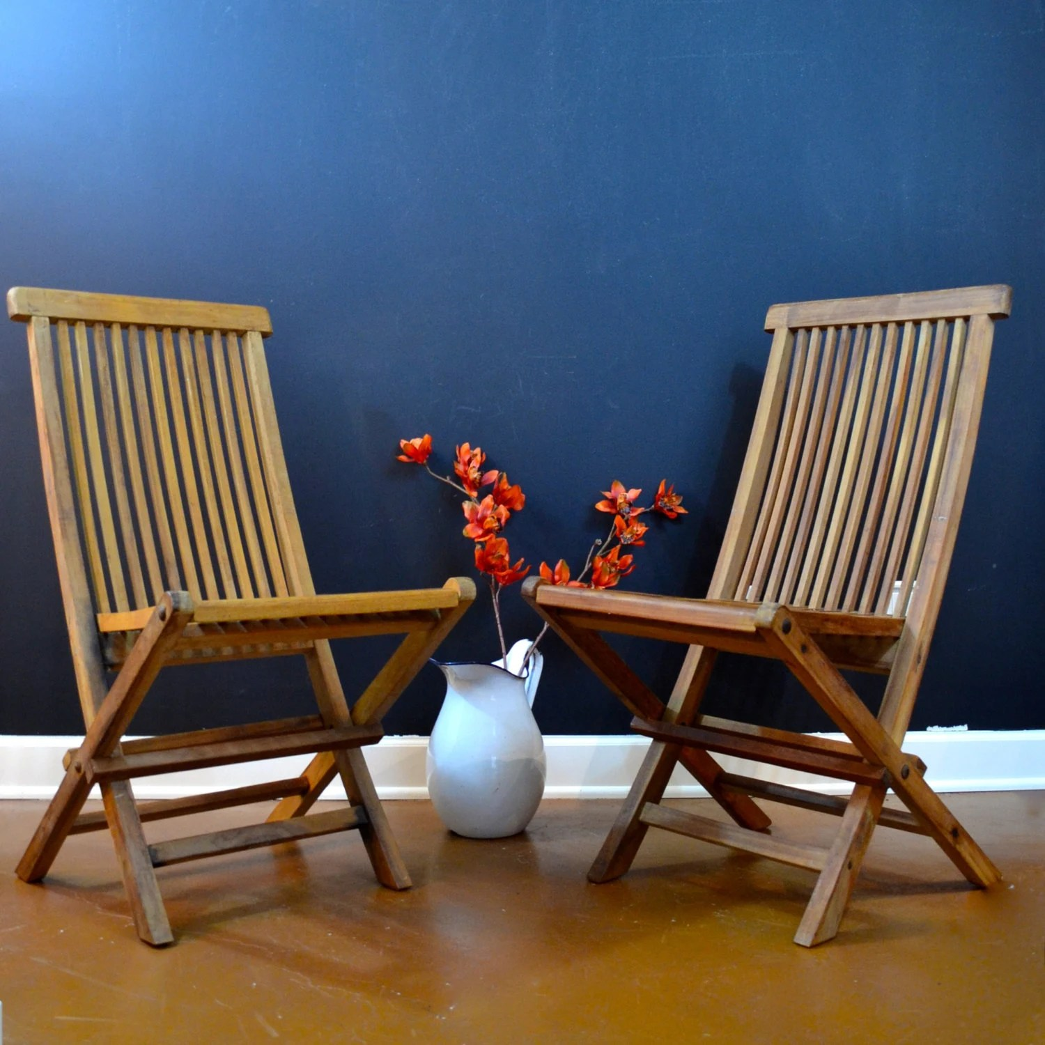 Beautiful Pair Of Teak Folding Chairs Wellesley Manor