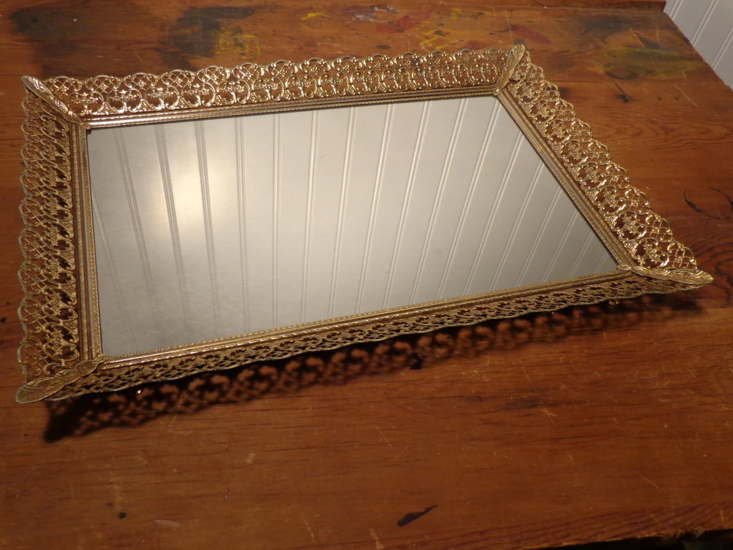 Vintage Rectangle Vanity Mirror Tray Gold By BubbiesMemories