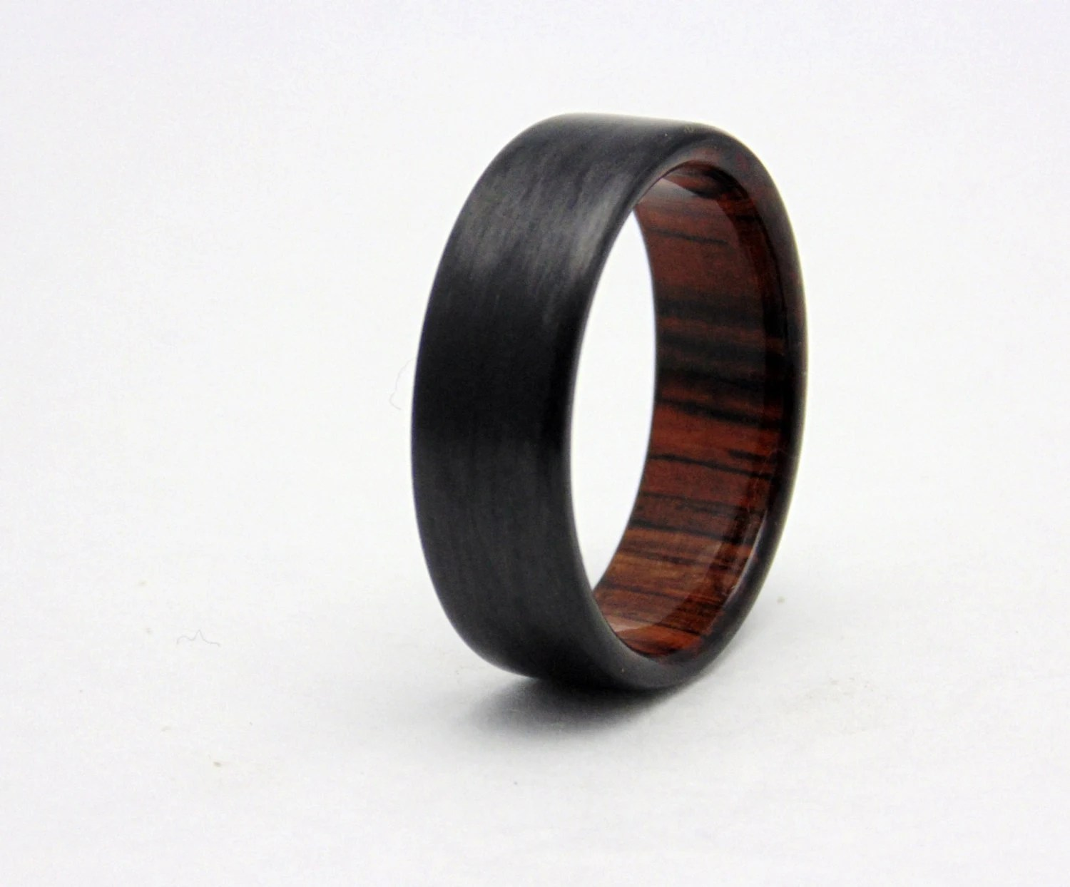 Carbon Fiber Wedding Band With Cocobolo Wood Handmade Carbon