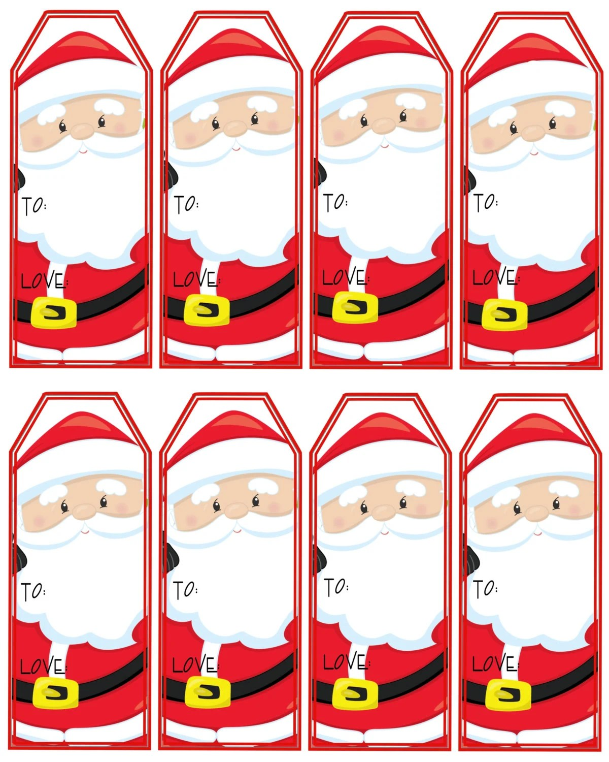 Santa Claus T Tags Printable Christmas Tags Instant