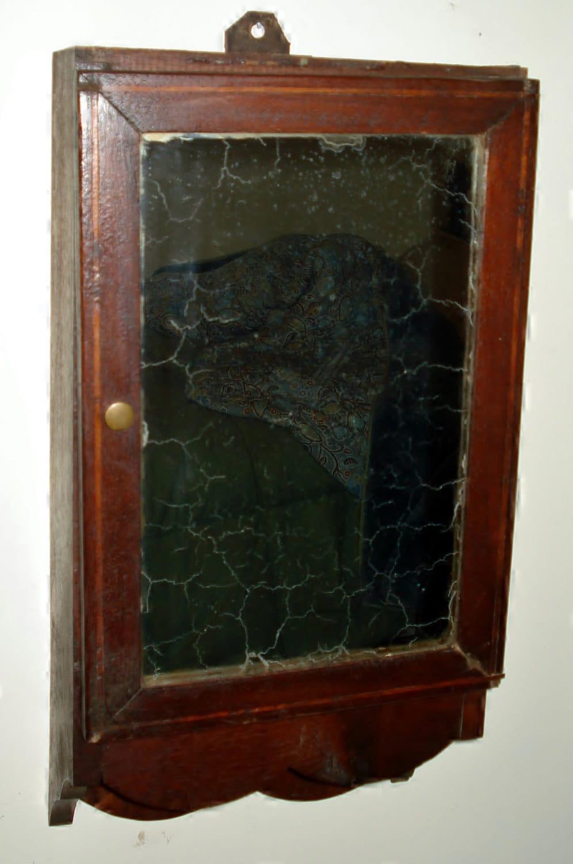 Antique 19th C Burl Walnut Medicine Cabinet With Mirror