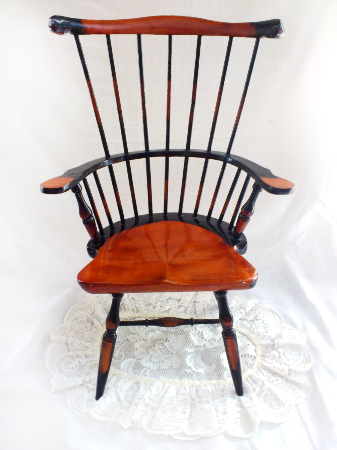 Amazing photo of Vintage Large Wooden Windsor Chair for Dolls or Teddy Bear Haute  with #B33A0E color and 1125x1500 pixels