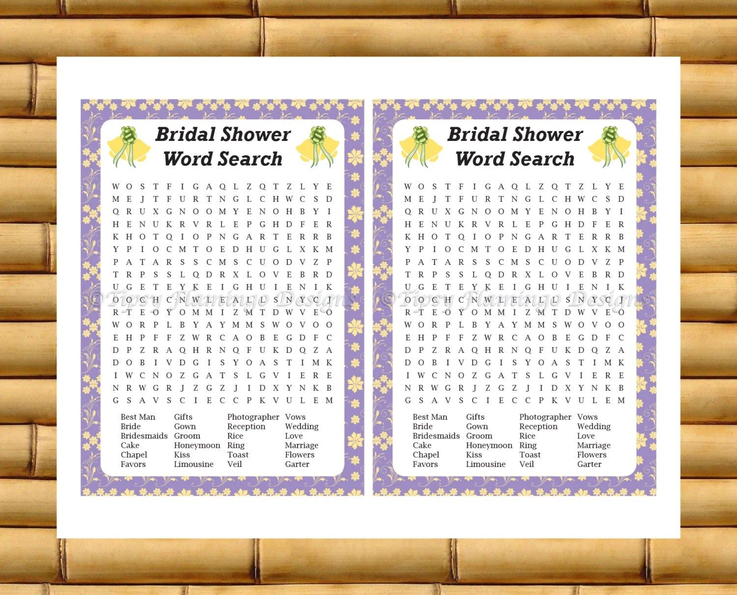 Bridal Shower Game Wedding Word Search With Answer Sheet