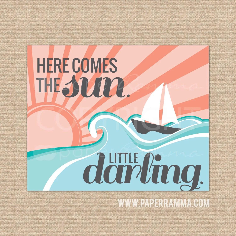 Here Comes The Sun Beatles Nursery Art Sailboat Decor