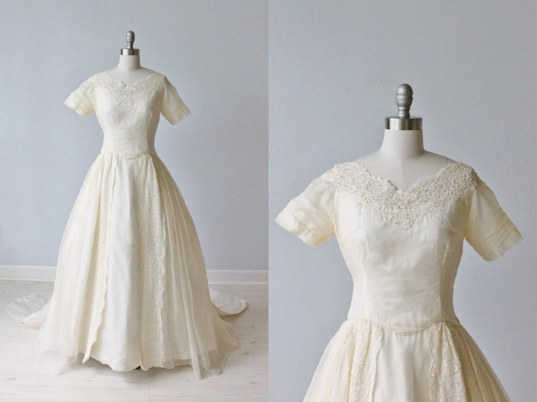 1950s Wedding Dress / Silk Organza Wedding Dress / Ballgown