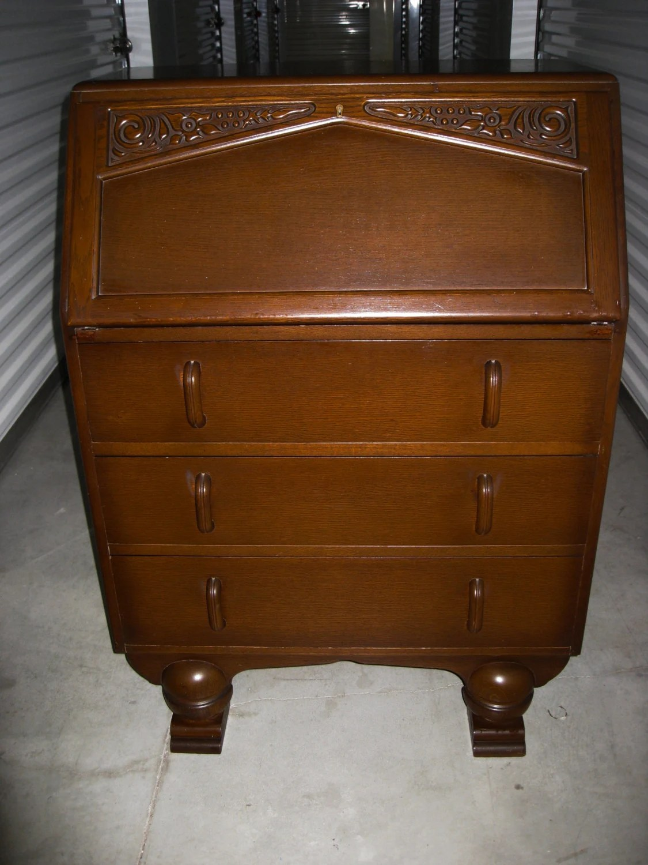 vintage art deco english oak drop front bureau secretary. Black Bedroom Furniture Sets. Home Design Ideas