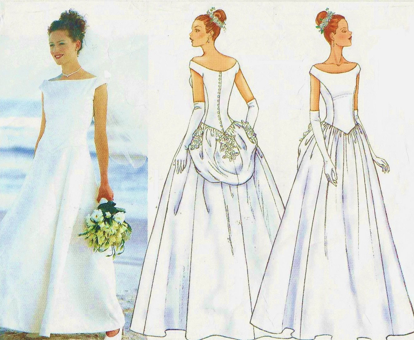 Womens Wedding Gown Princess Seams Dropped Waist Back Buttoned