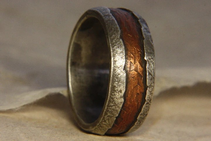 Rustic Mans Ring Of Sterling Silver And Copper Mans
