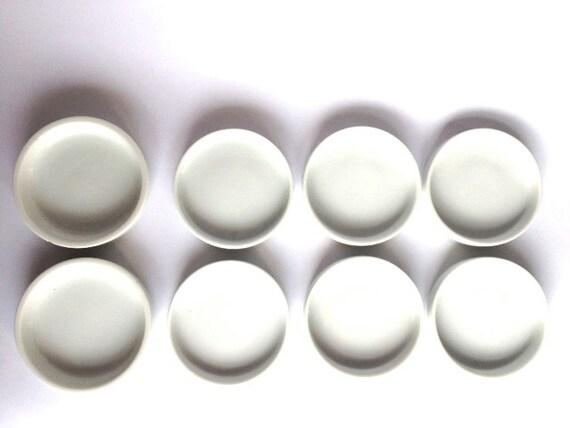 Items similar to Set of 8 White Ceramic Coasters/ Sauce ...
