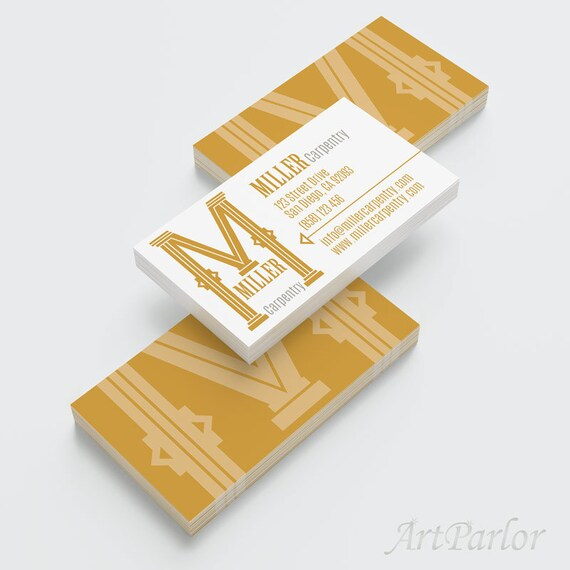 Business Card Design Package, Your Custom Initial as Logo, Woodworking ...