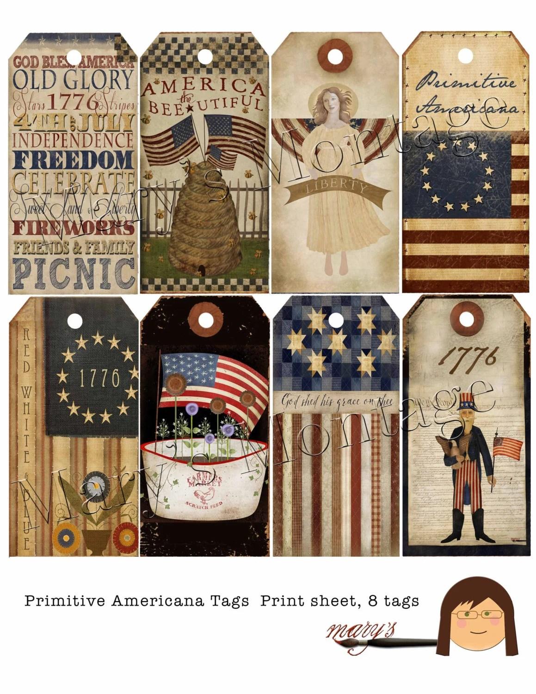 Primitive Americana Print Sheet 8 Tags Printable Download