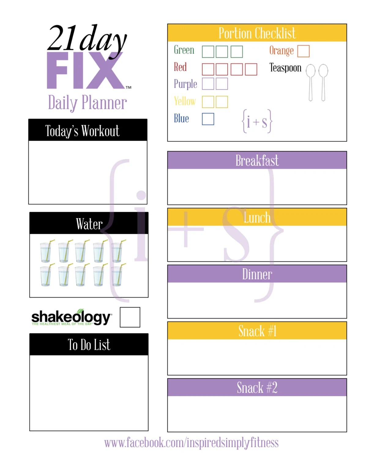 21 Day Fix Printable Meal Workout Planner Calorie Bracket