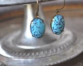 Vintage Southwestern Turquoise Blue Matrix Glass Earrings - Vintage Assemblage