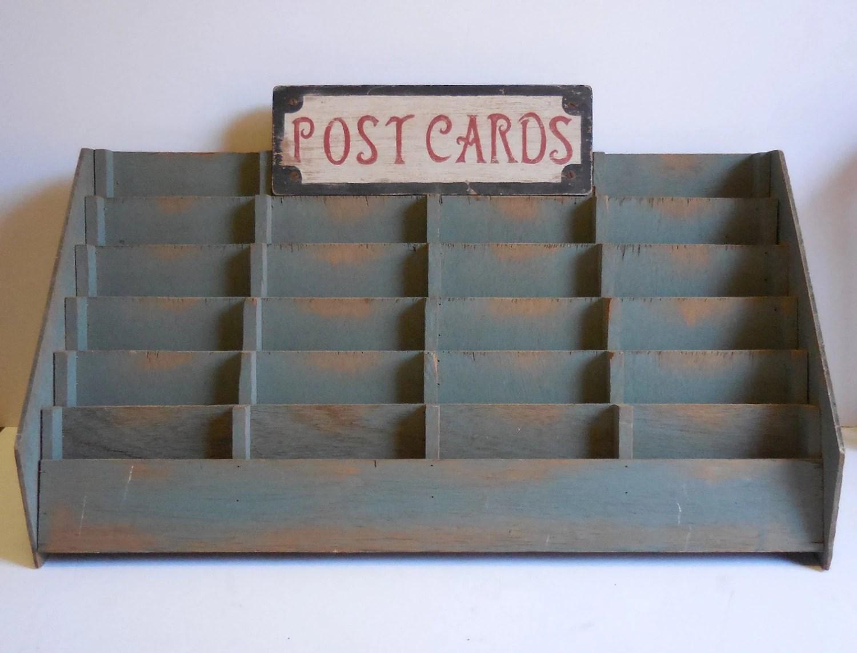 Vintage Postcard Display Rack Card Shelves Slots By