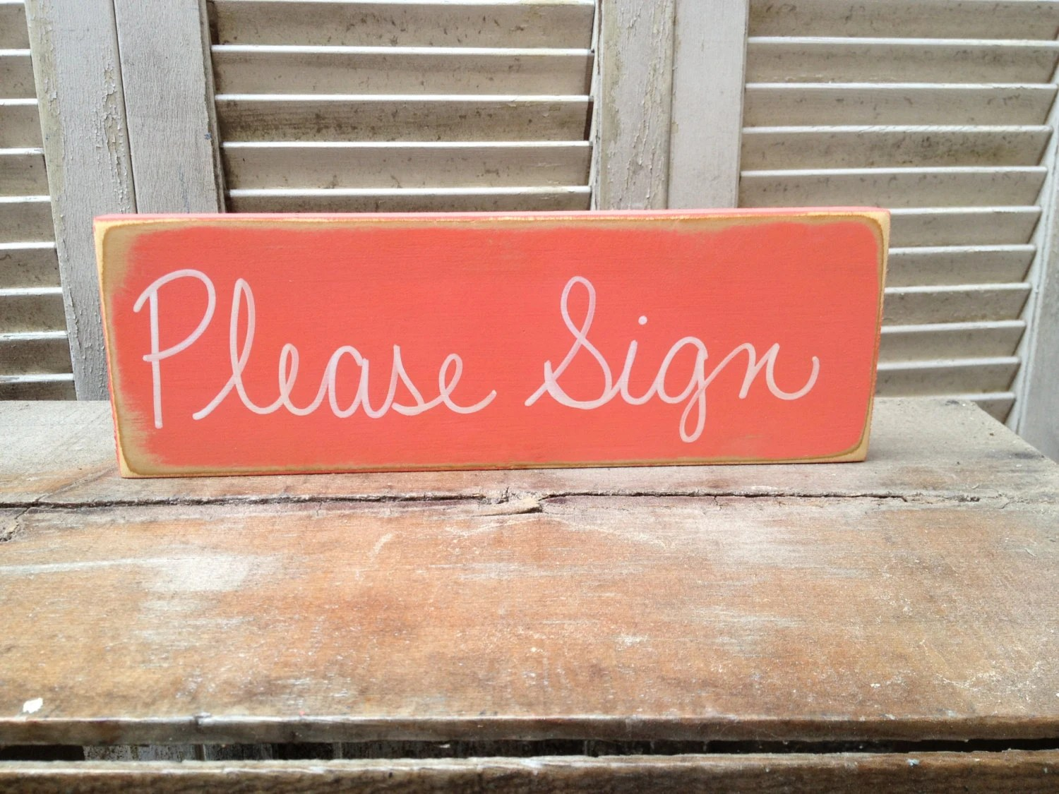 Coral And White Please Sign Wedding Guest Book Sign Wooden