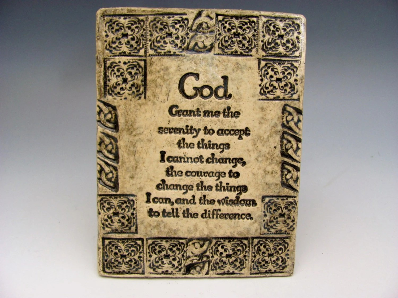 Serenity Prayer Stoneware Plaque 12 Step By