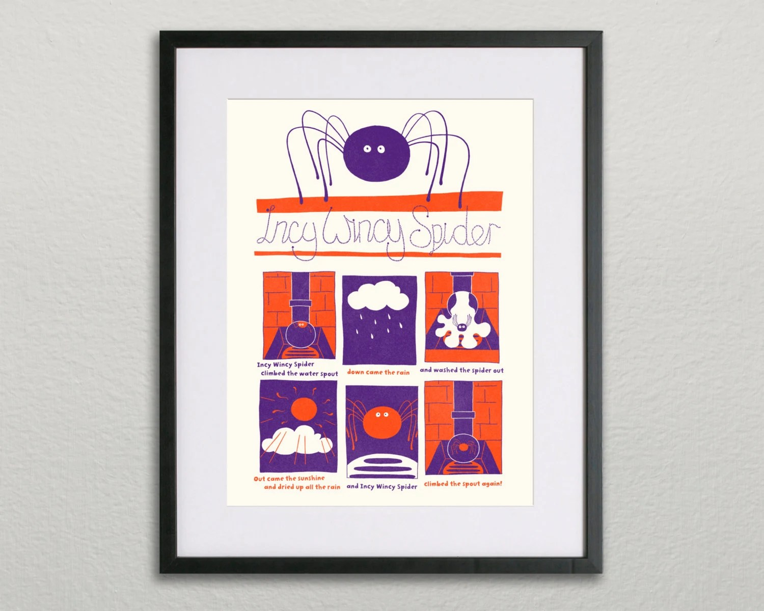 Nursery Rhyme Screen Print Incy Wincy Spider