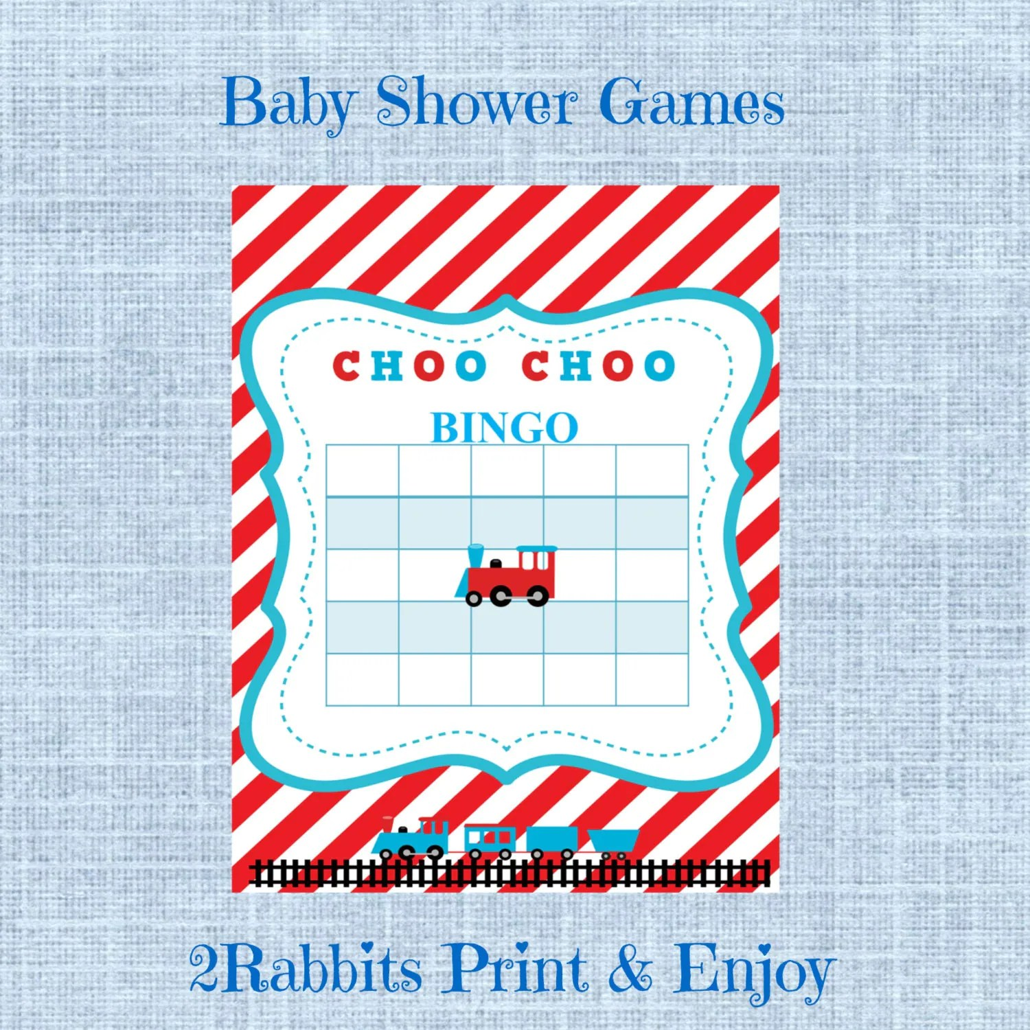 Train Themed Baby Shower Bingo Blank Cards Bingo T Baby