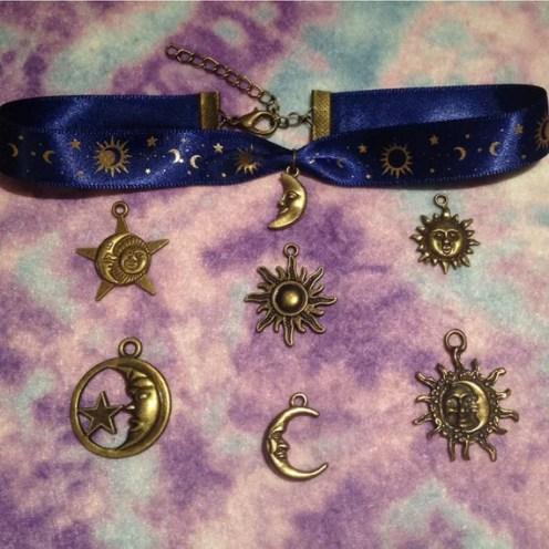 Antique Bronze Celestial Choker Choose Your Charm