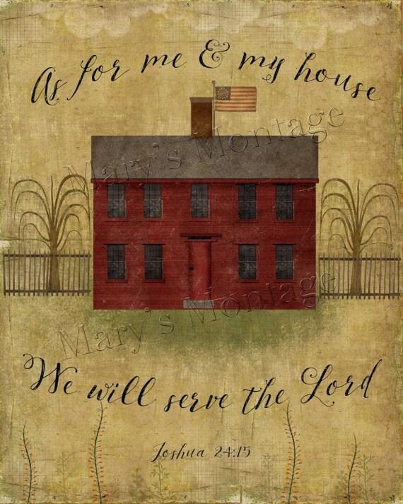 Grungy Primitive House Scripture Graphics Folk Art