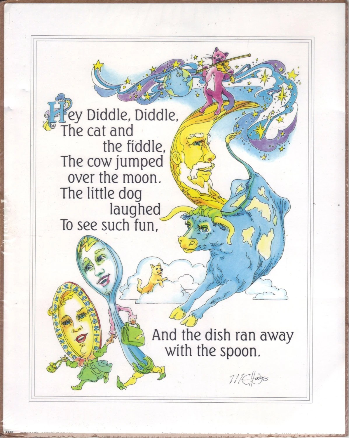 Hey Diddle Diddle Small Poster Of Nursery Rhyme By