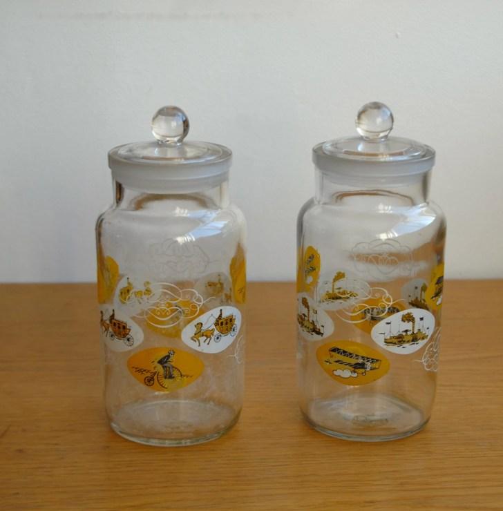 Vintage Kitchen Storage Jars Sweet Penny Farthing Motifs