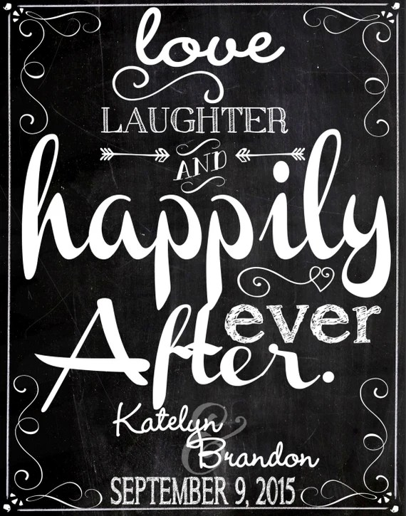Download Love laughter & happily ever after sign customized wedding