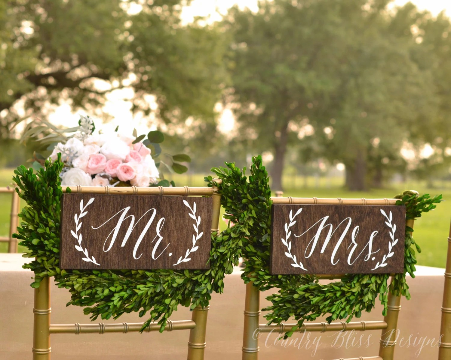 Mr And Mrs Chair Signs Mr And Mrs Sign Mr Mrs Chair Signs