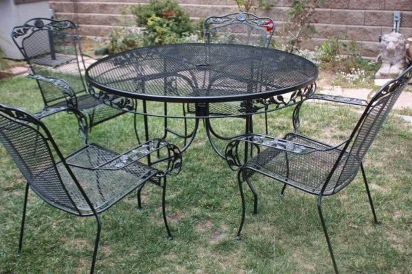 wrought iron patio furniture sets Vintage Wrought Iron Patio set Table & 4 armchairs by