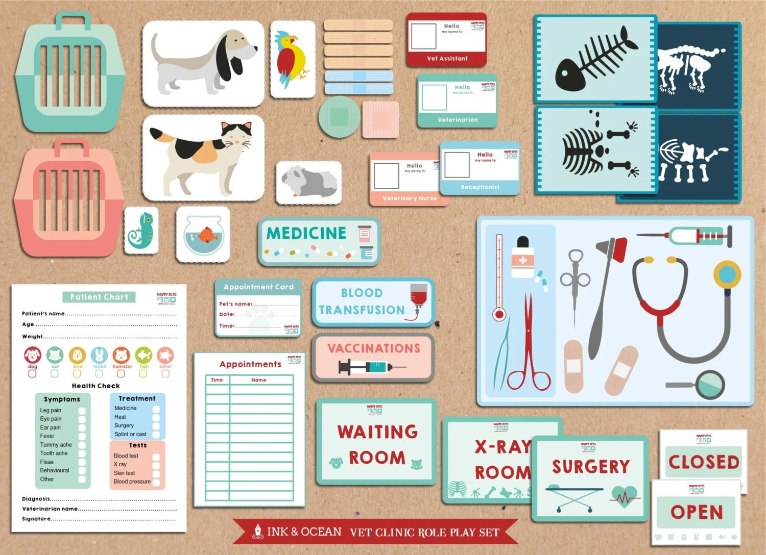 Pretend Play Bumper Printable Vets Animal Doctor Veterinary
