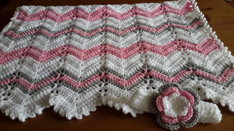 Baby Girl Gift Set Crochet Baby Blanket And Hat Gift Set