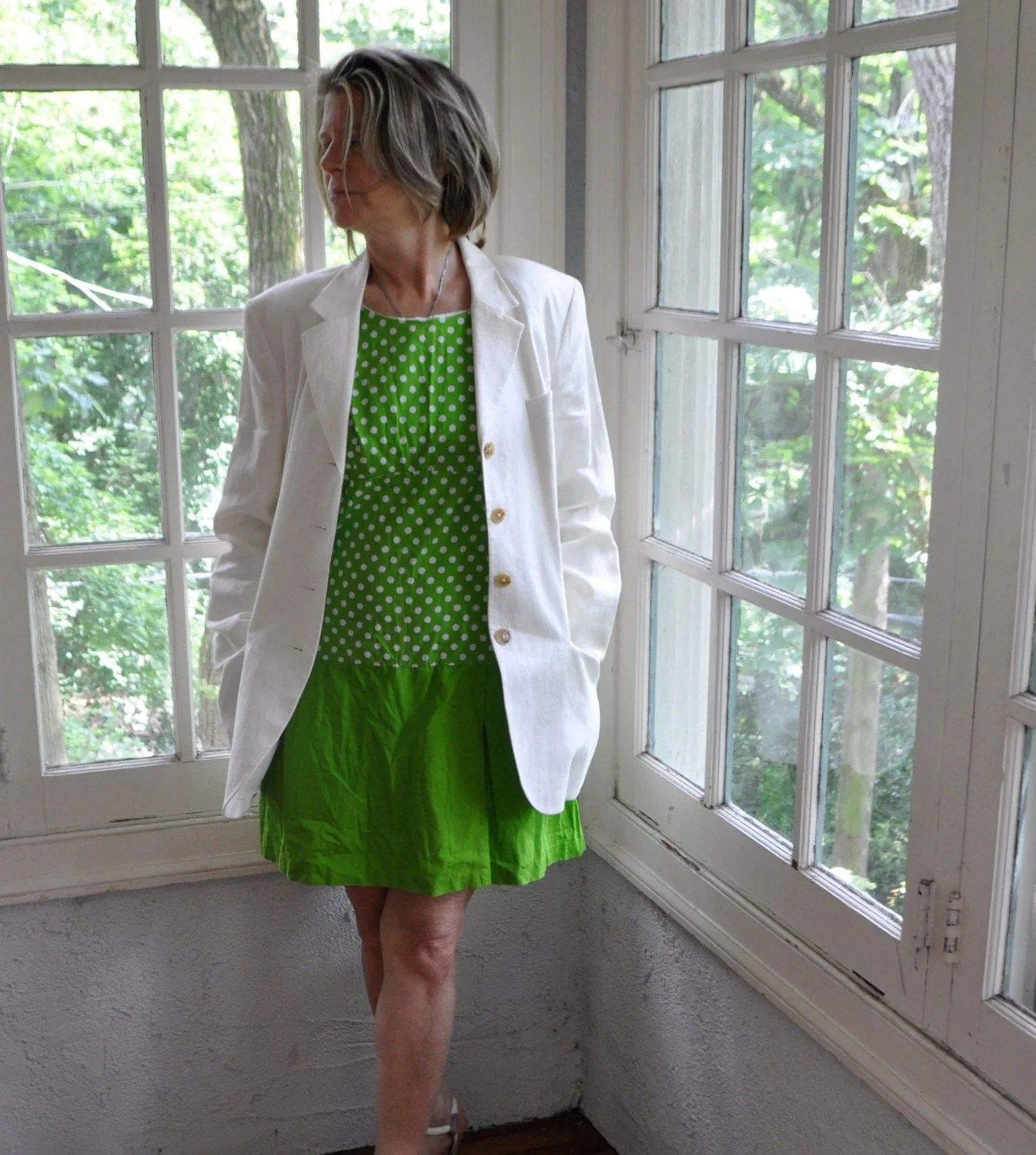 Apple Green Polka Dot Culottes Mini Dress/Vintage 1960s ...