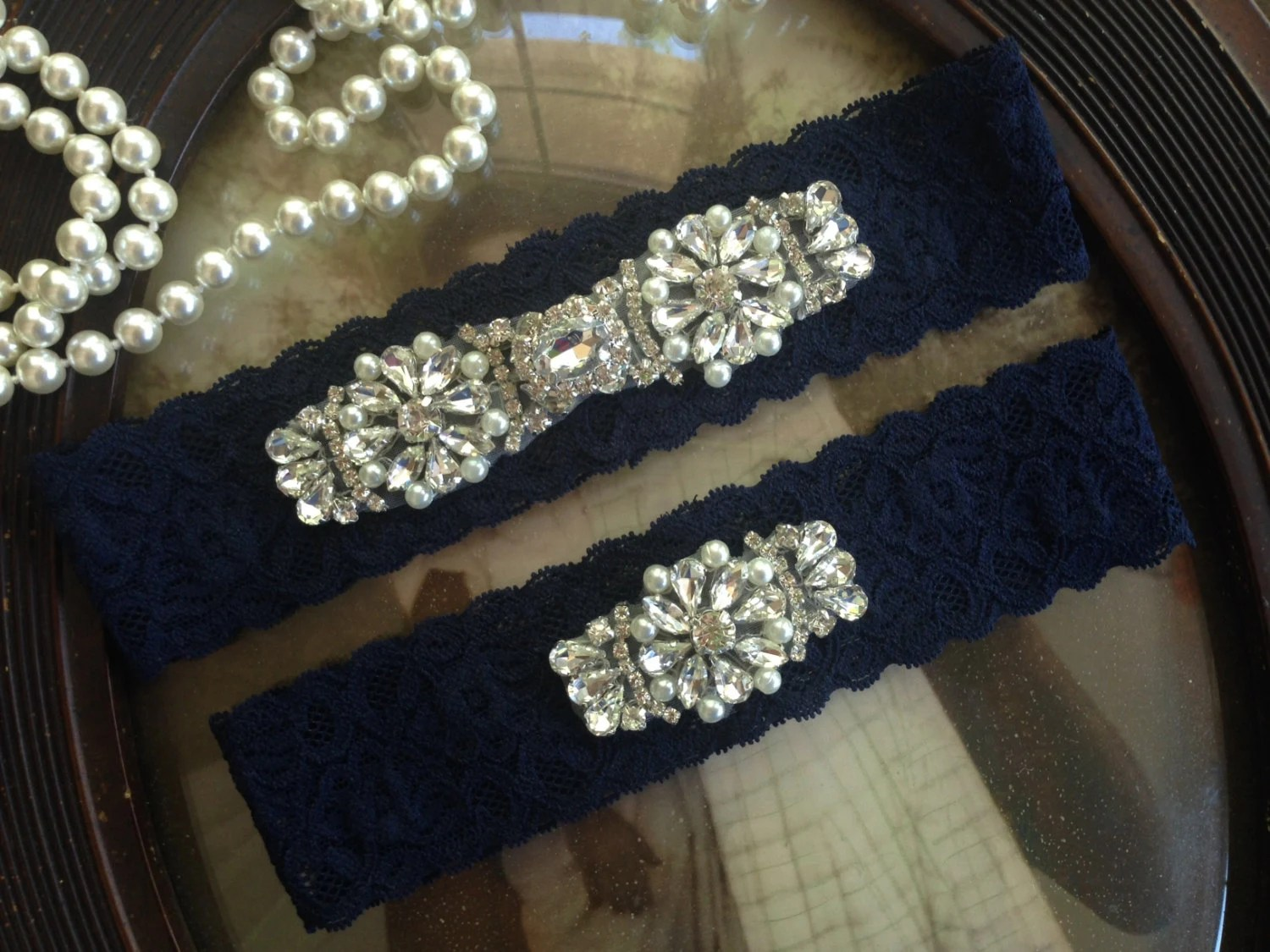 SALE-Garters-Wedding Garter-Navy-Ivory Garter-Bridal