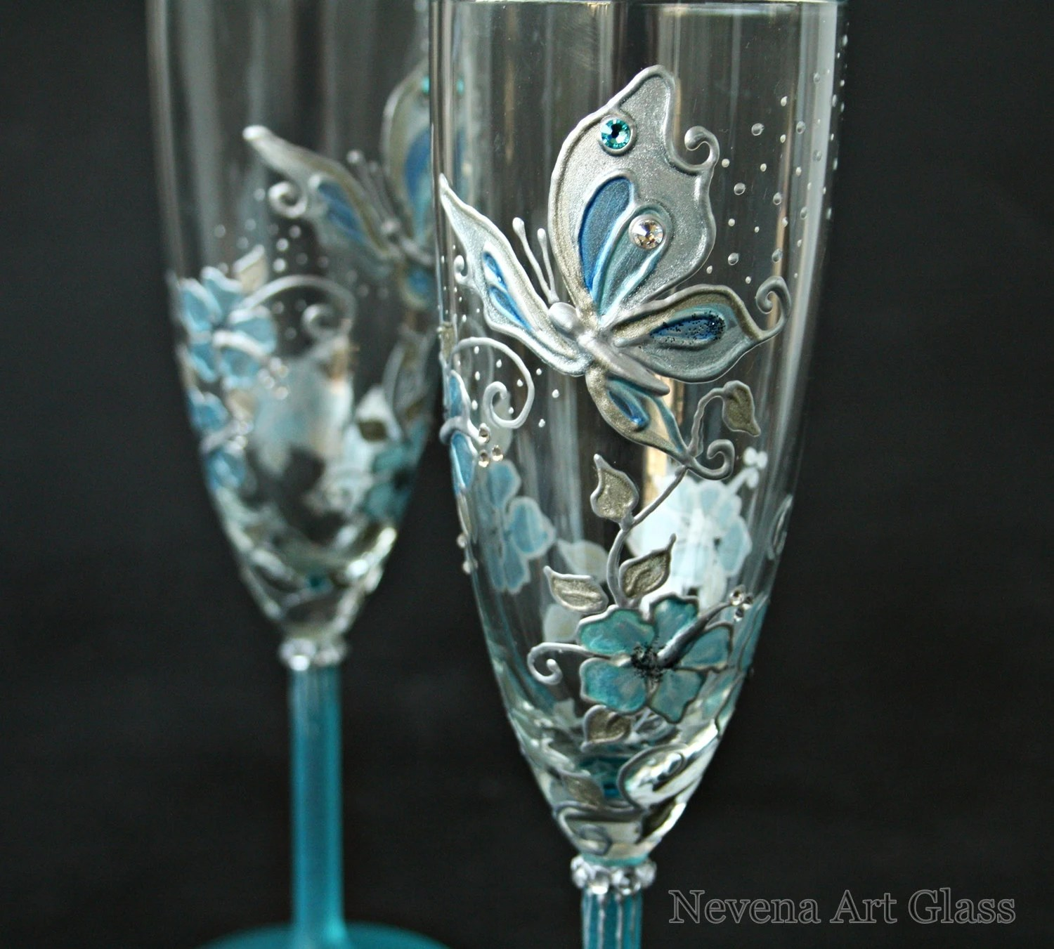 Butterfly Wedding Champagne Glasses Hand Painted In Aqua