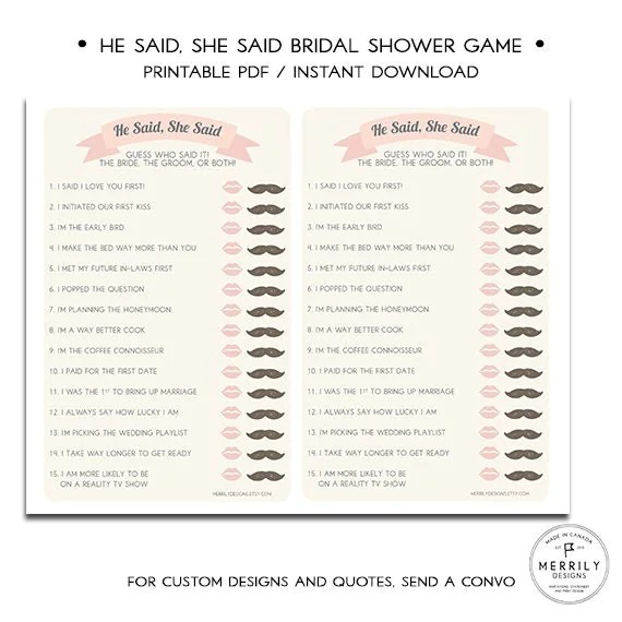 Thats What She Said Bridal Shower Game