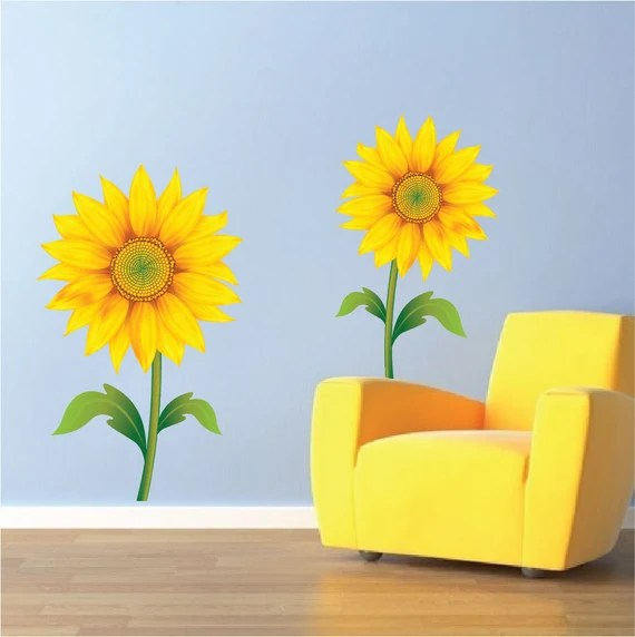 Peel and Stick Sunflower Wall Decals by PrimeDecal