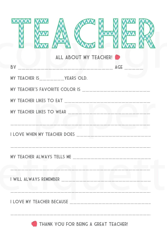 All About My Teacher Teacher Appreciation By Paperetiquette