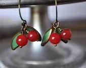 Vintage Juicy Fruit Persimmon Earrings With Pistachio Green Leaves - Vintage Assemblage