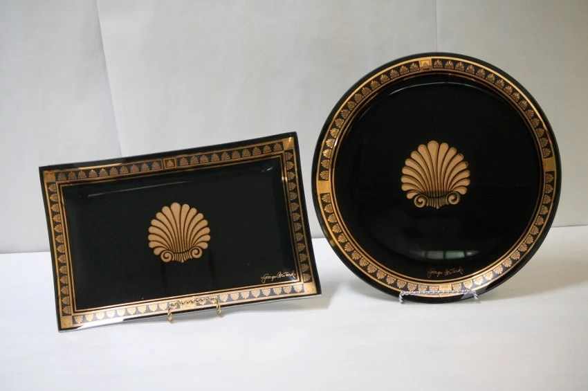 Georges George Briard Black Gold Shell Glass Round Platter