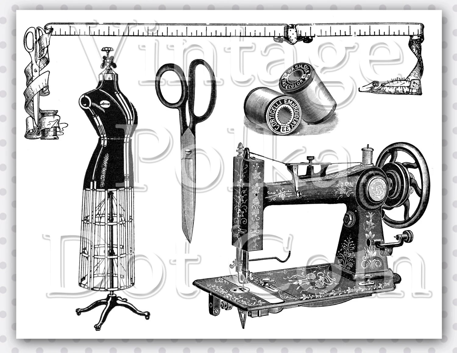 Vintage Clip Art Sewing Notions Digital Printable Antique