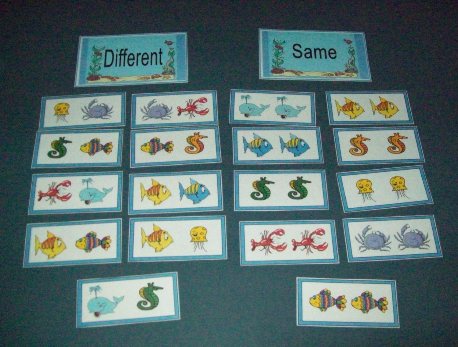Same Or Different Sorting Game Under The Sea Fun Literacy Game