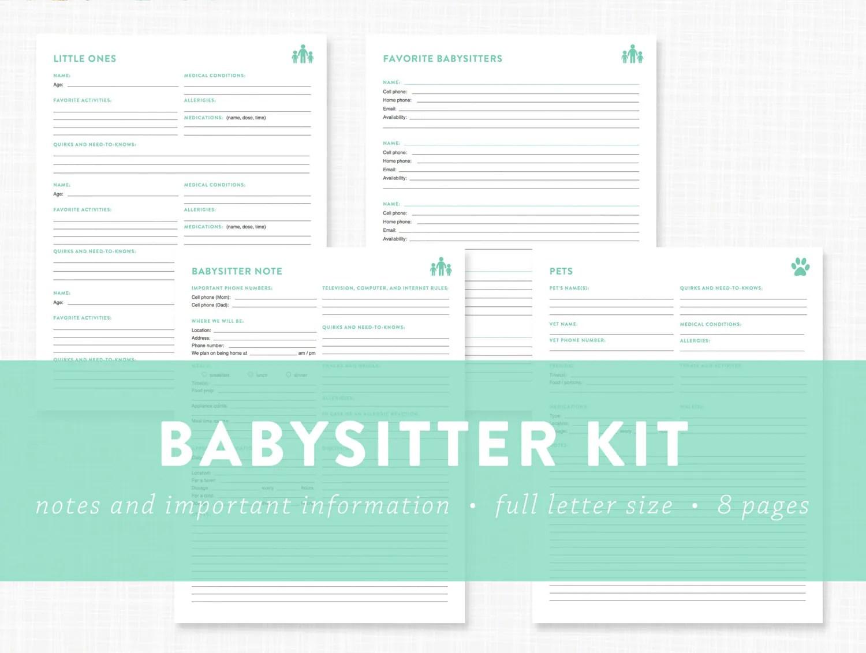 Editable Babysitter Kit Information By Lauradraytoncreative