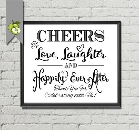 Download Items similar to Cheers To Love, Laughter, and Happily ...